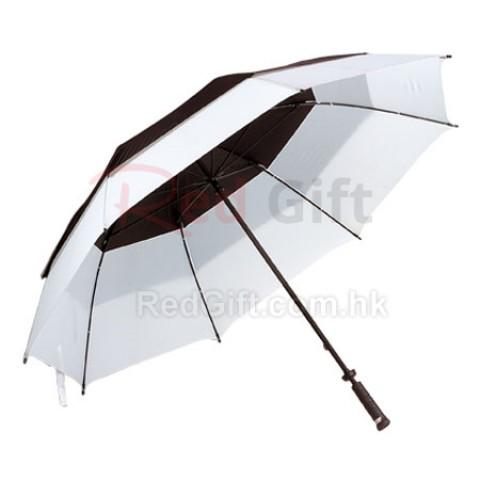 30寸間色雙層直柄太陽傘